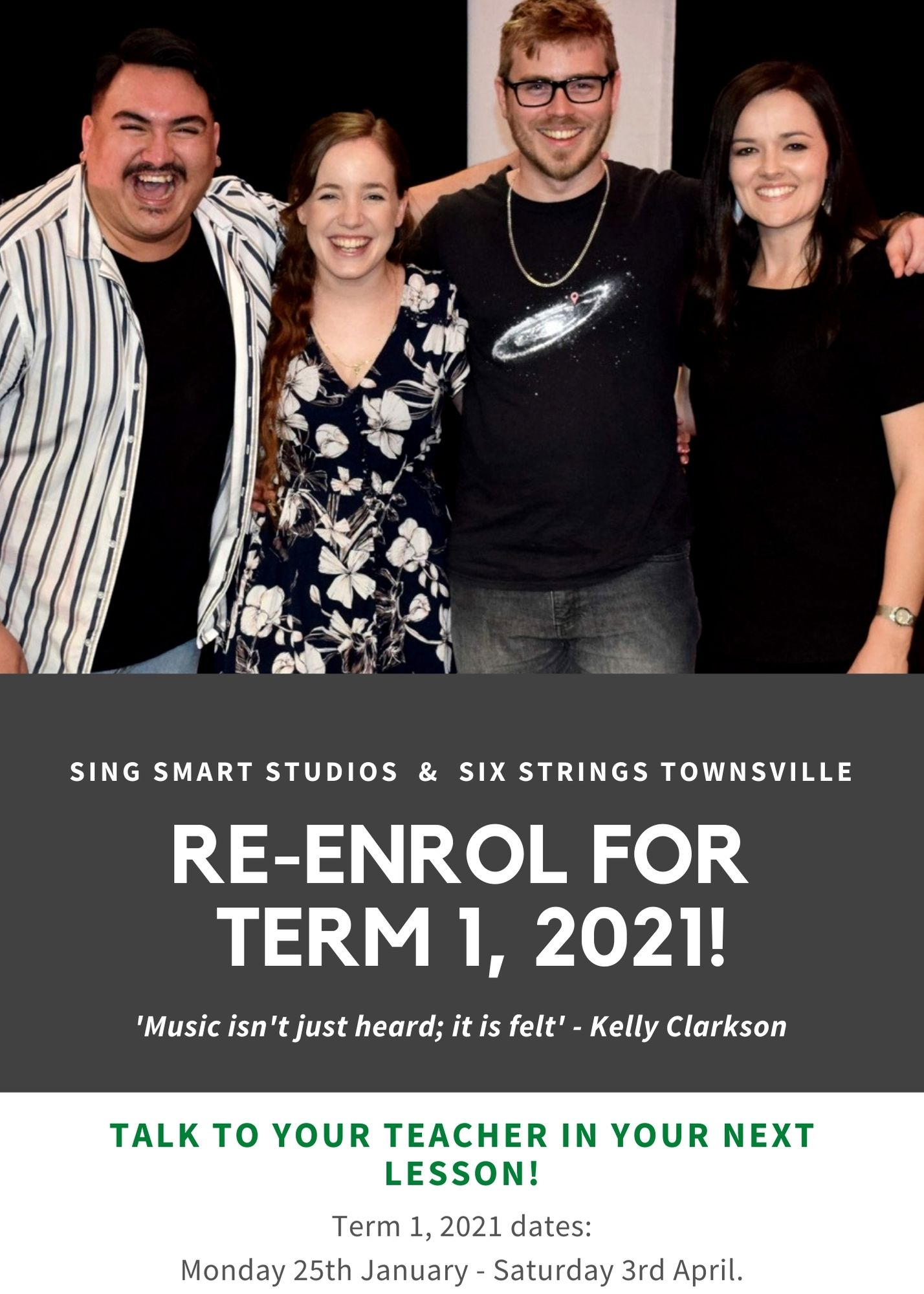 Re-enrol now for Term 1, 2021!